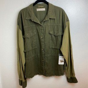 NWT Free People Two Tone Army Green Shirt.Large